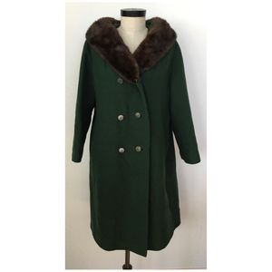 Vintage Green Wool with Mink Collar Winter Coat